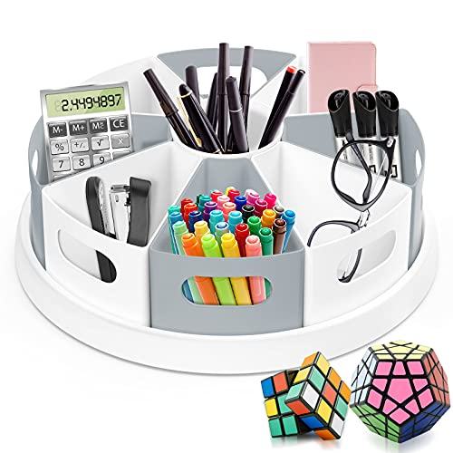 """MeCids 360 Rotating Storage Organizer Desk Organizers Pen Holder– 12"""" Lazy Susan Style Caddy with Removable Bins, for Home Office Supplies, Art Supplies, Make-up & Kitchen Use, with Card & Gift Box"""
