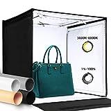 Amzdeal Portatile Tenda Studio con 3000-6000K LED Strip 40cm Fotografico Portatile Light Box con 4 Sfondi (Nero/Bianco/Grigio/Arancione)