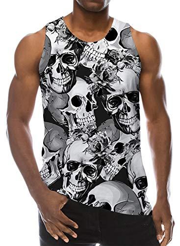 Loveternal Hombres Camiseta Sin Mangas Impresas 3D Camisas Cráneo Muscle Shirt S