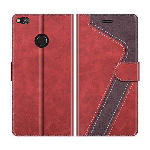 MOBESV Handyhülle für Huawei P8 Lite 2017 Hülle Leder, Huawei P8 Lite 2017 Klapphülle Handytasche Hülle für Huawei P8 Lite 2017 Handy Hüllen, Modisch Rot