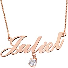 Personalized Name Necklace Pendant Custom Made Necklace with Name 18K Gold Birthstone Box Chain Gifts for Women