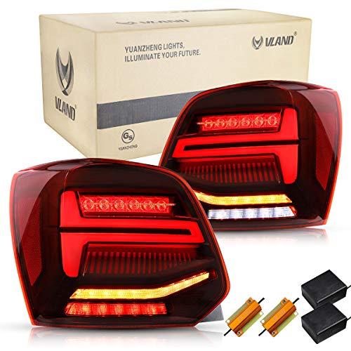 VLAND Rückleuchten für POLO MK5 6R 6C 2009-2018 LED Lightbar Heckleuchten,mit Dynamik Blinker,Mit E-Prüfzeichen,LED Technik Rücklichter,Rot,LHD