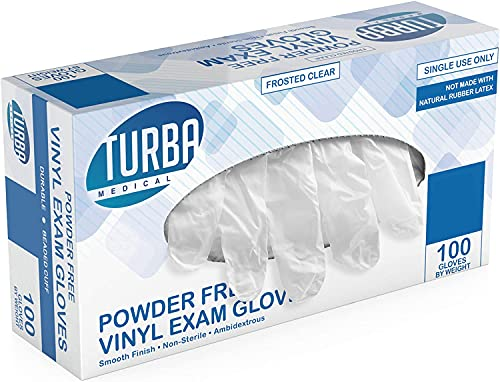 Disposable Vinyl Gloves, 100 Non Sterile, Powder Free, Latex Free - Examination Gloves, Cleaning Supplies, Kitchen and Food Safe - Turba (X-Large)