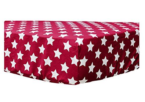 F2F Sterne Spannbettlaken Stars Rot 180 x 200 cm Renforce