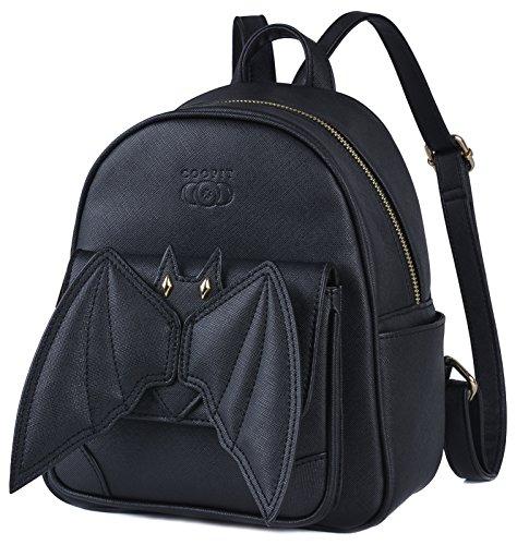 COOFIT Fledermaus-Rucksack, Gothic-Rucksack, schwarz, Mini-Rucksack, kleiner Rucksack für Damen