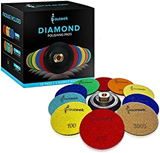 ibouteek Diamond Polishing Pads 4 inch Wet/Dry 10 Pads + Backer | Polishing Kit for Granite Marble Concrete and Stone