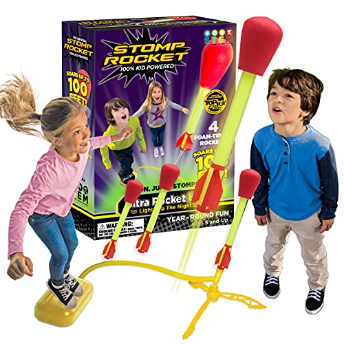 The Original Stomp Rocket Ultra Rocket LED, 4 Rockets – Outdoor Rocket Toy Gift for Boys and Girls- Comes with Toy…