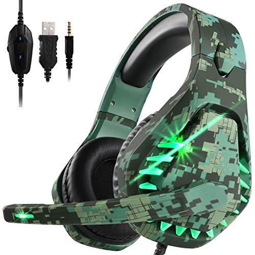 ENVEL Gaming Headset for PS4 with Mic,PC,Xbox One,Laptop,Surround Sound Over Ear Noise Cancelling Headphone with LED Lights Volume Control for Smartphone,Computer,Nintendo Switch
