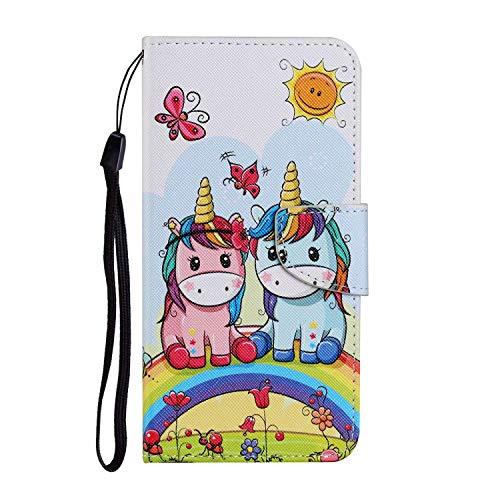 Miagon für iPhone 6/6S Hülle,Bunt Muster Handytasche Flip Case PU Leder Cover Magnet Schutzhülle Ständer mit Kartenfach Magnetisch,Pferd