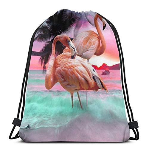 asdew987 Mochila con cordón para adultos, con diseño de flamenco, para playa, ligera, para viajes