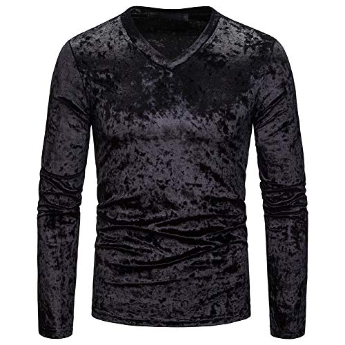 Elegeet Mens Basic V-Neck Shirt Casual Long Sleeve Crushed Velour T-Shirts Black Medium
