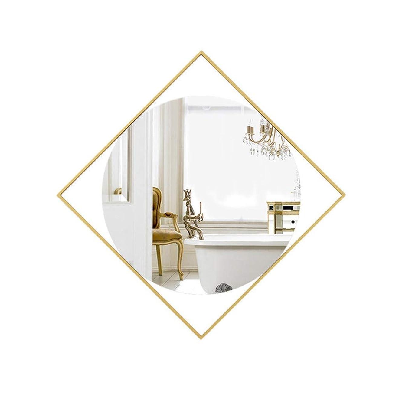 邪魔乗算熟読明るい鏡 錬鉄装飾ミラー、幾何学的なメンズベッドルームウォールミラー創造浴室化粧鏡会議室ギャラリーメタルミラー メイクアップとミラー (Color : Gold, Size : 60*60CM)
