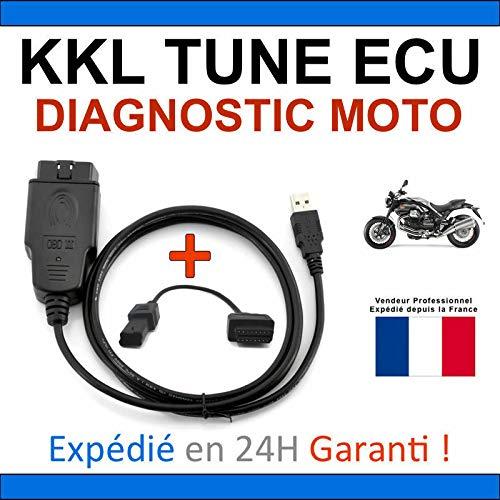 KKL - Maleta de diagnóstico especial para moto, compatible con TUNE ECU DUCATI APRILIA TUNEECU – Lección/borrado defectos / programación de mapas (Interfaz KKL + adaptador de 4 pines)