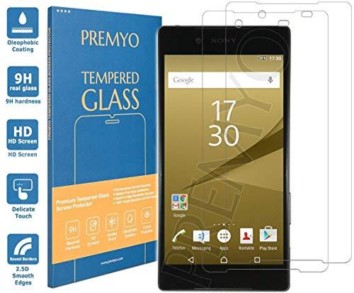 PREMYO 2 Pezzi Pellicola Vetro Temperato Compatibile con Sony Xperia Z5 Premium Protezione Schermo Durezza 9H Bordi 2,5D Anti-Graffi Bolle Impronte