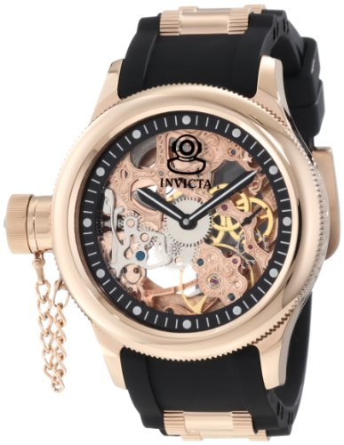 Invicta Men's 1845 Russian Diver Mechanical Rose Gold Tone Skeleton Dial Watch
