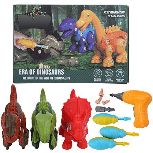 Ladieshow Dinosaur Toys para niños Juguetes de Aprendizaje temprano con Taladro eléctrico Kit de Destornillador Manual