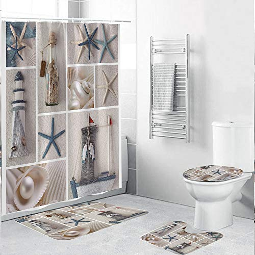 ZXMOTO Bathroom Rugs Shower Curtain Set Marine Sail Starfish Shower Curtain with Non-Slip Rug, Toilet Lid Cover and Bath Mat, Waterproof Nautical Shower Curtain with 12 Hooks (4PCS)