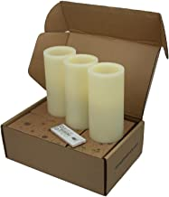 Lyra Candle. Real Ivory Wax Flameless Candles with Remote and Auto Timer Feature, 6-inch Candle Set of 3