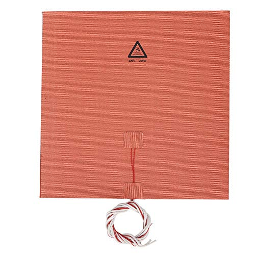 ASHATA 3D Printer Silicone Pad,300W 220V 300 * 300mm High Temperature Resistance Silicone Heated Bed Heating Pad for CR-10,Long life and high thermal efficiency conversion
