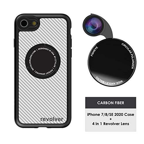 Ztylus Designer Revolver M Series Camera Kit: 4 in 1 Lens with Case for iPhone 7/8 / SE 2020 – Fisheye Lens, Wide Angle Lens, Macro Lens, CPL (White Carbon Fiber)