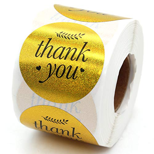 Thank You Sticker, Small Shop Sticker, Small Business, Packaging Sticker, Real Gold 500 PCS, 1.5 inch,-Vintage Feather (Gold)