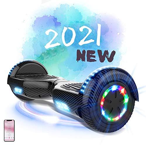 MARKBOARD Hoverboard da 6,5 Pollici per Bambini e Adulti, Smart Scooter Auto Bilanciamento Bluetooth Elettrico e LED Multicolor E-Skateboard Auto Balance (Carbon Black)