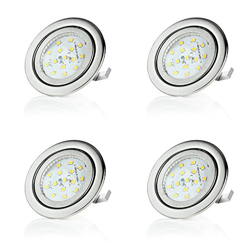 sweet-led 4er Pack, 3W LED, 230V Warmweiß, Flach Einbaustrahler Möbelleuchte, Möbel Einbaustrahler Einbauleuchte, Einbauspot, ultra flach Mini