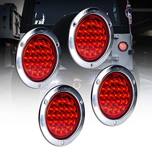 4pc 4 Inch Round LED Trailer Tail Lights [DOT Certified] [Stainless Steel Chrome Bezel] [Connector Plug Included] Stop Brake Lights Compatible with Jeep Trucks RV