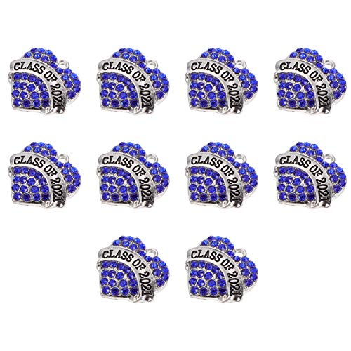 VALICLUD 10 Piezas de Colgante de Graduación de Número 2021 Encantos para Decoración de Año Nuevo DIY Pulseras Collar Accesorios de Fabricación de Joyas Azul