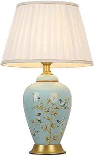 WYBFZTT-188 Tischlampe Keramik Blau BlumenVase weißer Schirm for Wohnzimmer Familien Schlafzimmer Nacht