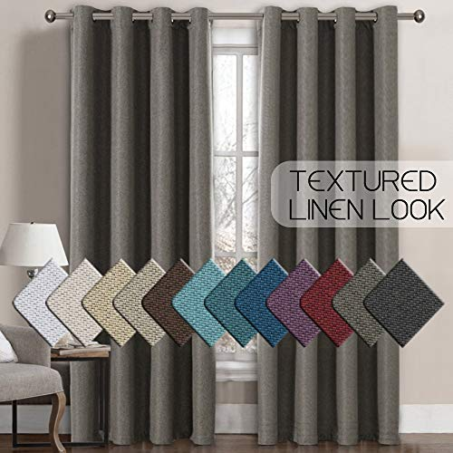 H.VERSAILTEX Linen Curtains Room Darkening Light Blocking Thermal Insulated Heavy Weight Textured Rich Linen Burlap Curtains for Bedroom/Living Room Curtain, 52 by 108 Inch - Taupe Gray (1 Panel)