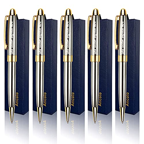 Personalized Luxury Ballpoint Pen Writing Set-Stainless Steel Fancy pens Custom with Your Name or Message, Perfect for Students/Teacher/Manager/Lawyer/Professor 5PCS/Pack