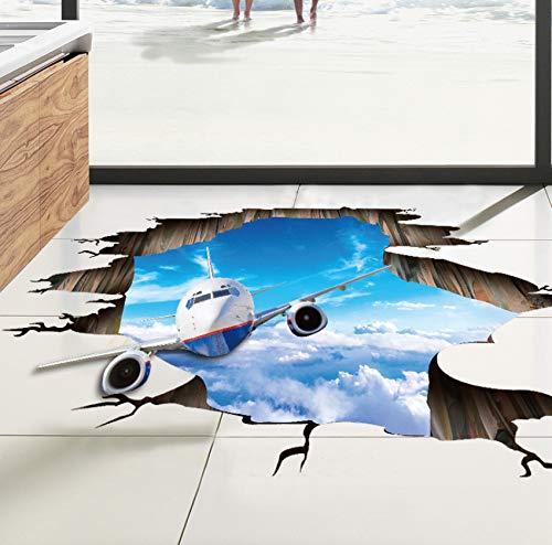 Adesivo da pavimento aereo da parete rotto Adesivi murali 3D fantasma blu per bambini Camere per bambini Poster Decorazioni per la casa Soffitto a soffitto Art Mural 60x90cm