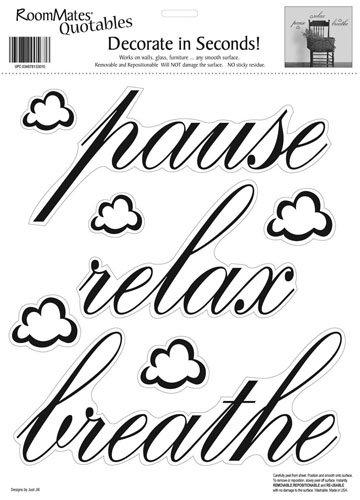 RoomMates RMK0039SS Pause, Relax, Breathe Peel & Stick Single Sheet