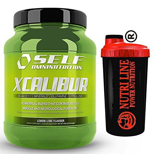 Self Xcalibur 400 gr Aminoacidi Ramificati Bcaa 12:1:1 con Glutammina Citrullina Magnesio Potassio e Vitamina b6 Gusto Limone +SHAKER NUTRILINE