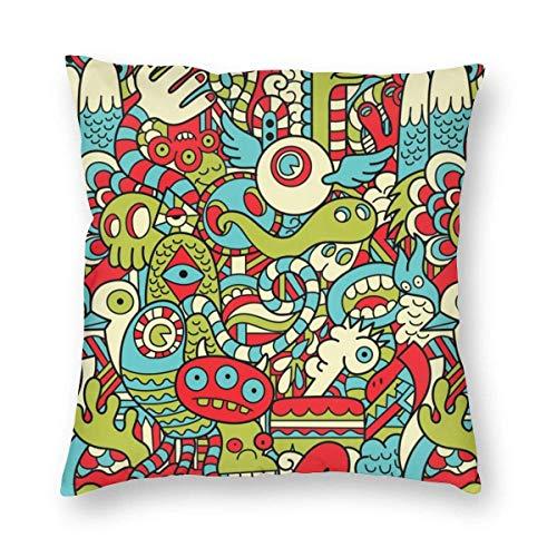 GOSMAO Fundas para Cojines s Doodle Funda de cojín con impresión clásica Fundas de Almohada Decorativas para Regalos sofá decoración 45 * 45cm