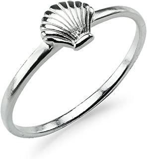 Sterling Silver Polished Seashell Band Ring Clam Scallop Beach Sizes 5 to 10 Women