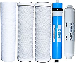 Watts Reverse Osmosis Replacement Filter Set 5 pcs w/ CSM 50 GPD Membrane