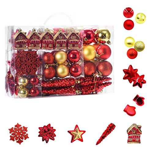 WEYON 113 Stück Christbaumkugeln Set Weihnachtskugeln aus Kunststoff Golden & Rot Baumschmuck Weihnachtsbaum Deko & Christbaumschmuck in unterschiedlichen Größen und Designs