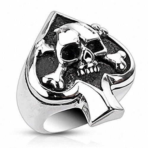 Mianova Herren Ring Edelstahl Massiv Breit Herrenring Männer Biker Rocker Schmuck Silber Poliert Totenkopf Pik Ass Größe 66 (21.0)