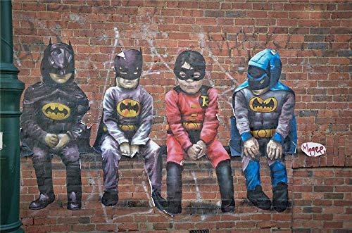 Banksy Batman Disfraz para nios, decoracin de pared para el hogar, decoracin de pared para dormitorio, sala de estar, pinturas al leo - 1064 (enmarcado, 30,4 x 45,7 cm)