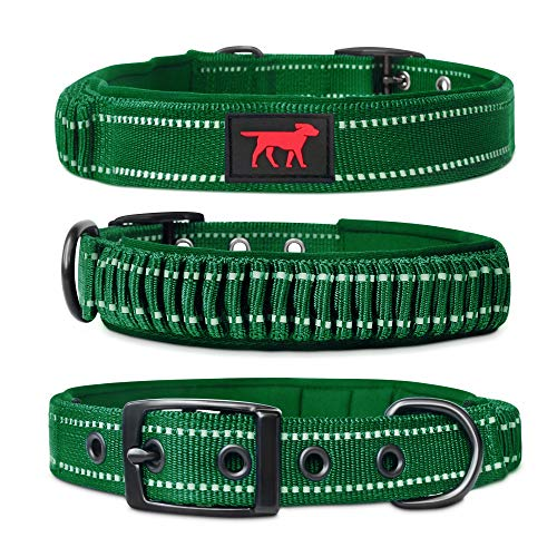 Tuff Pupper Heavy Duty Dog Collar with Handle   Ballistic Nylon Heavy Duty Collar   Padded Reflective Dog Collar with Adjustable Stainless Steel Hardware   Convenient Sizing for All Breeds