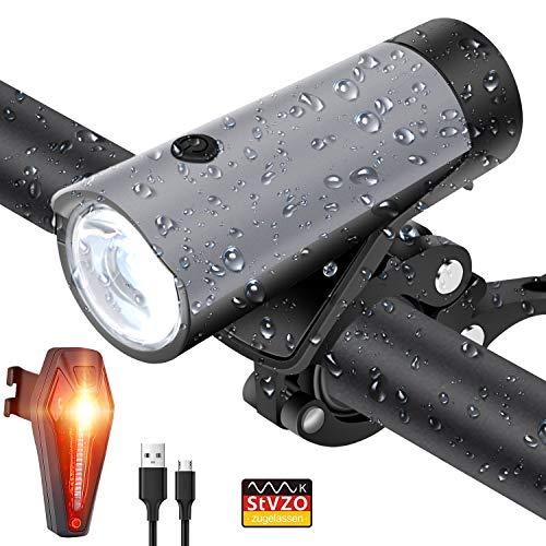 PATISZON Fahrradlicht Set LED Fahrradbeleuchtung USB Wiederaufladbare Fahrradlampe Set StVZO Zugelassen Fahrrad Licht Frontlicht Rücklicht IPX5 Wasserdicht