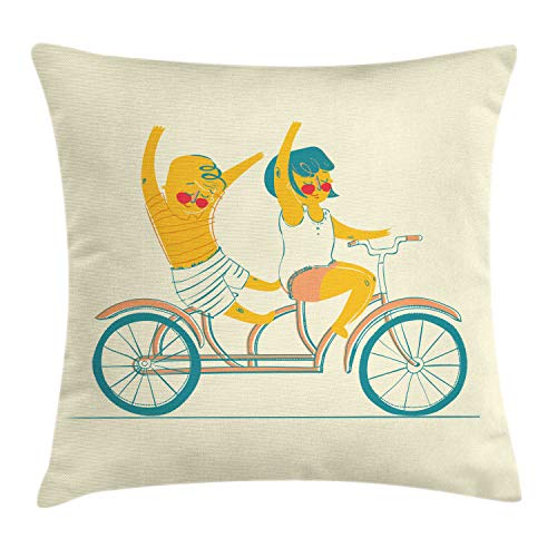 "Lunarable Best Friends Forever Throw Pillow Cushion Cover, Happy Doodle Boy and Girl Ride on Tandem Bicycle Together Friendship, Decorative Square Accent Pillow Case, 20"" X 20"", Multicolor"