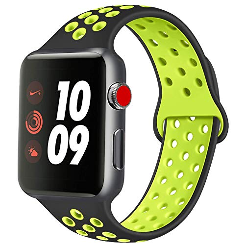Compatible for Apple Watch Strap 38mm 42mm 40mm 44mm,Two-tone Soft Silicone Breathable Sporty Replacement Strap for iWatch Apple Watch Series 4/3/2/1 S/M, M/L (Black&Yellow,42mm/44mm)