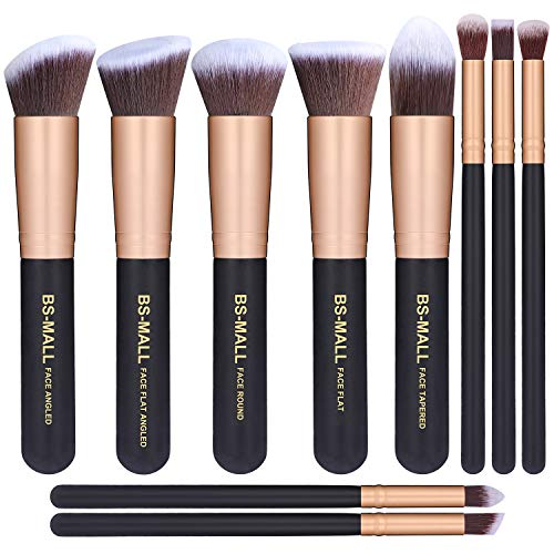 BSMALLTM Makeup Brushes Premium Makeup Brush Set Synthetic Kabuki Cosmetics Foundation Blending Blush Eyeliner Face Powder Brush Makeup Brush Kit 10pcs Golden Black