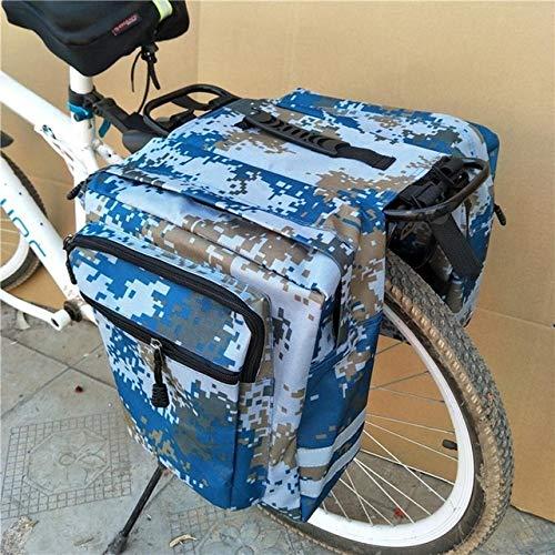 LBY Montaña Ruta for Bicicleta 2 en 1 Camo del Tronco Bolsas de Ciclismo Lateral Doble Asiento Trasero del Estante de la Cola Pannier Paquete portaequipajes (Color : Blue)