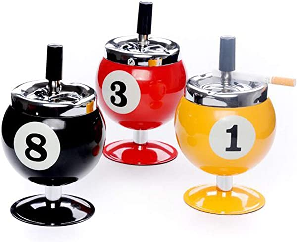 Wenyun Metal Cigarette Ashtray No 8 Billiards Ball Ashtray Push Down Spinning Ashtray For Indoor Or Outdoor Use