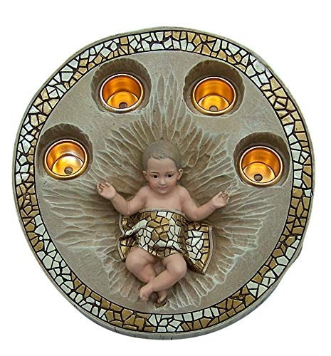 Roman 633306 - Portavelas de Adviento tallado para bebé, 9,5 cm