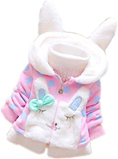 Swyss Toddler Kids Girl Winter Warm Rabbit Ears Hooded Coat Polka Dot Jacket Snowsuit Thick Warm Clothes